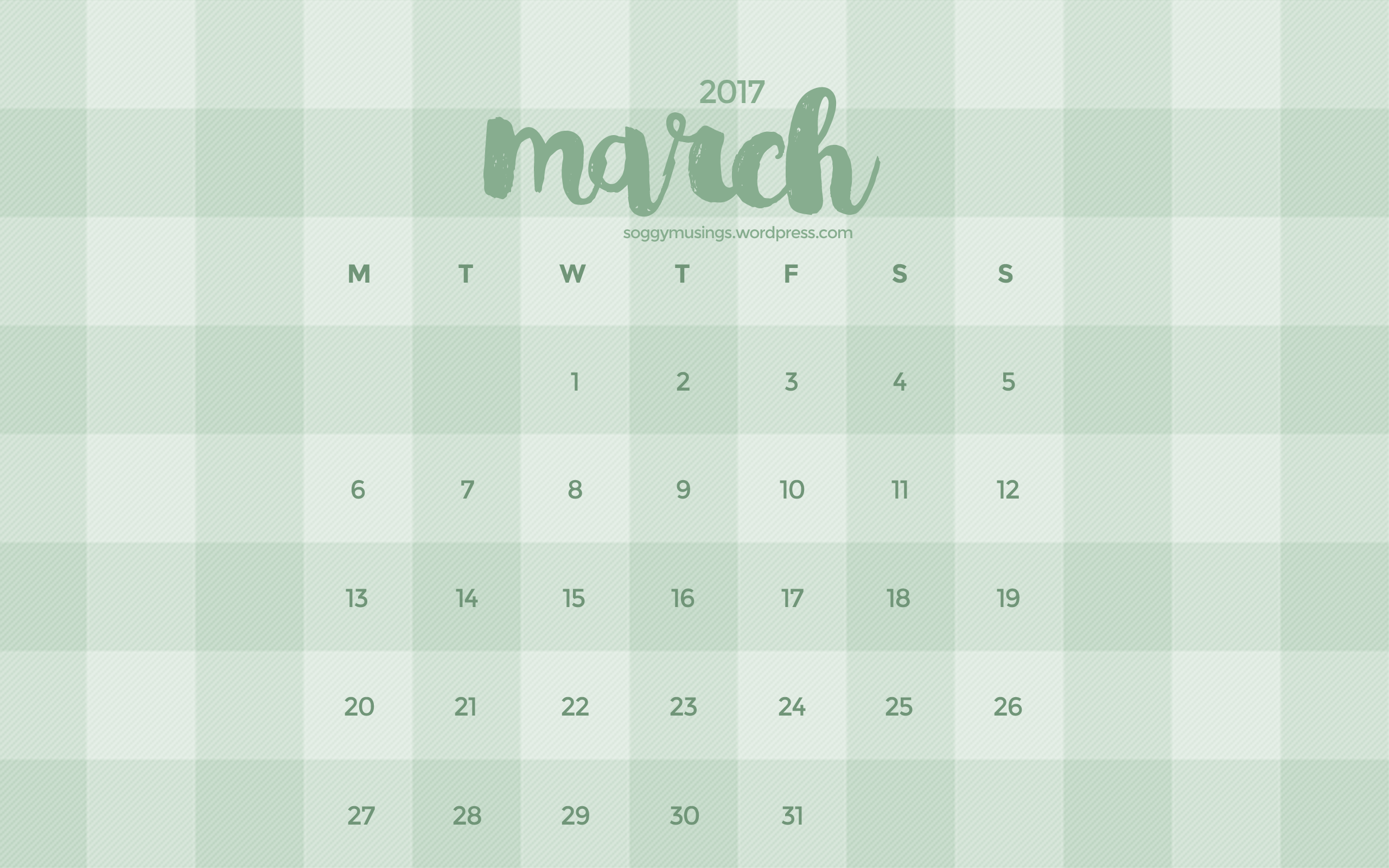 March 2017 Wallpaper Calendar Soggy Musings