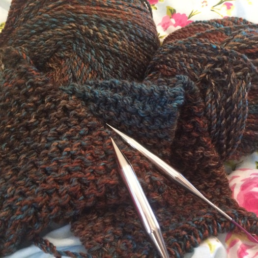 Knitting an autumn scarf for charity