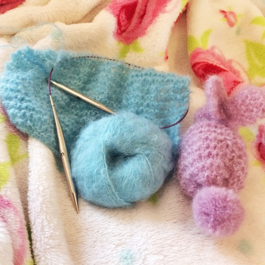 Louisa Harding La Quattre Salut mohair yarn; work in progress and the bunny I made earlier