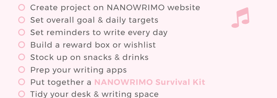 NANOWRIMO Prep List
